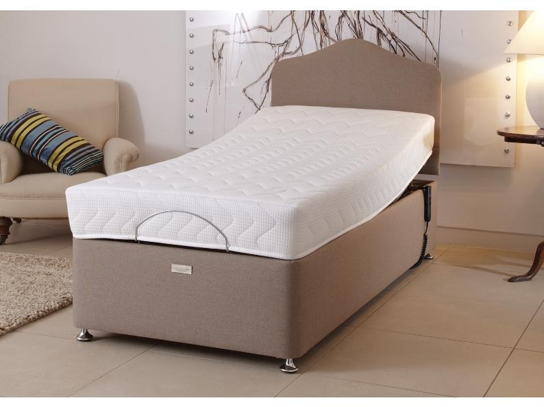 A latex foam mattress on an adjustable base